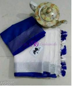 White with dark blue 120 counts linen sarees