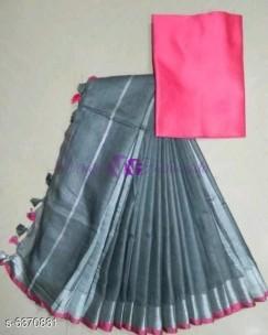 Grey and pink 120 counts linen sarees