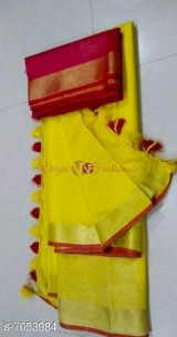 Dark yellow and red 120 counts linen sarees