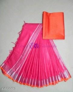 Pink and orange 120 counts linen sarees