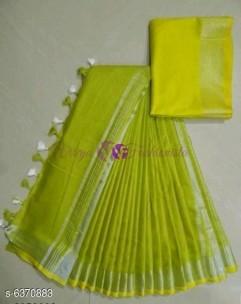 Olive green 120 counts linen sarees