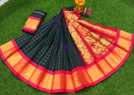 Bottle green chanderi kuppadam sarees