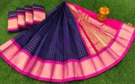 Navy blue and pink chanderi kuppadam sarees