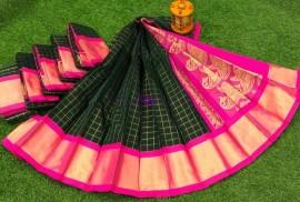 Black and pink chanderi kuppadam sarees