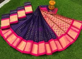 Indigo blue chanderi kuppadam sarees