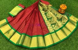Maroon red chanderi kuppadam sarees
