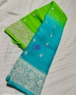 Green and sky blue pure banarasi chiffon sarees