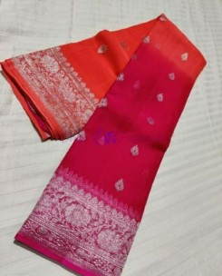 Orange and dark pink pure banarasi chiffon sarees