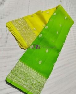 Yellow and green pure banarasi chiffon sarees