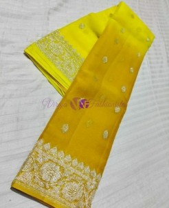 Yellow and dark mustard pure banarasi chiffon sarees