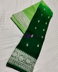 Green and dark green pure banarasi chiffon sarees