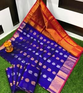 Dark blue handloom kuppadam sarees