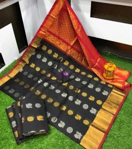 Black and red handloom kuppadam sarees