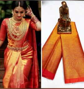 Reddish gold uppada tissue cotton sarees
