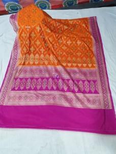 Orange and pink banarasi semi pure silk dupion sarees