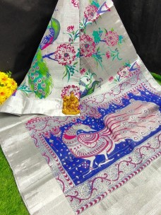 Uppada silver tissue cotton sarees with peacock print