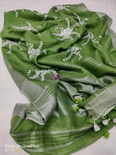Dark olive green 100 counts linen embroidered sarees