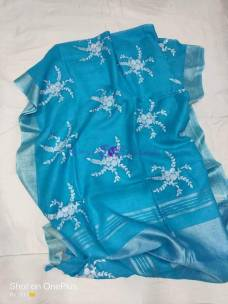 Light blue 100 counts linen embroidered sarees
