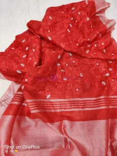 Chilli red 100 counts linen embroidered sarees