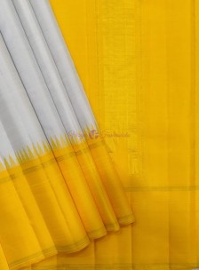 Silver grey with yellow pure kanchipuram korvai temple border sarees