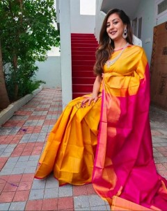 Mustard yellow and pink uppada sarees with big border