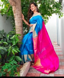 Light blue and pink uppada sarees with big border