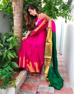 Dark pink with bottle green uppada sarees with big border