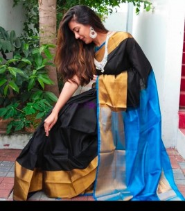 Black and light blue uppada sarees with big border