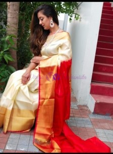 Cream and red uppada sarees with big border