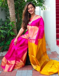Dark pink and yellow uppada sarees with big border