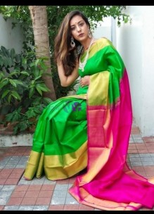 Green and pink uppada pattu big border sarees