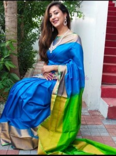 Light blue and green uppada pattu big border sarees
