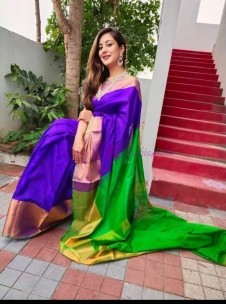 Purple and green uppada sarees with big border