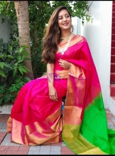Dark pink with green uppada sarees with big border