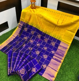 Dark blue and yellow handloom kuppadam sarees