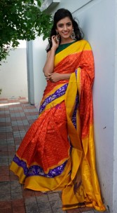 Orange handloom pochampally ikkat silk sarees