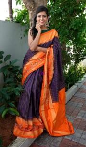 Dark violet and orange handloom pochampally ikkat Sarees