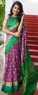Purple and green handloom ikkat sarees