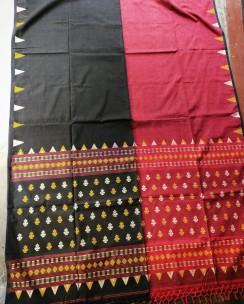 Black and red pure khadi handmade bhujodi style sarees
