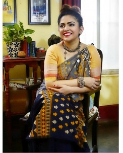 Black and grey pure khadi handmade bhujodi style sarees
