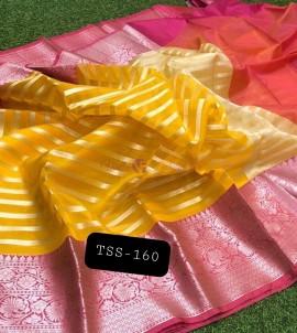 Mango yellow banarasi semi pure silk kora organza sarees
