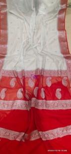 White banarasi semi pure silk georgette chiffon sarees