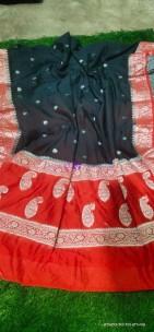 Black and red banarasi semi pure silk georgette chiffon sarees