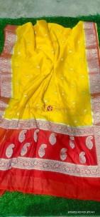 Yellow and red banarasi semi pure silk georgette chiffon sarees