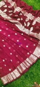 Burgundy banarasi semi pure silk georgette chiffon sarees