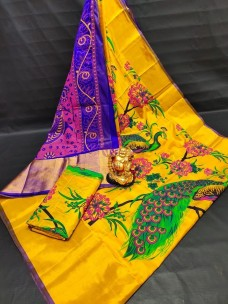 Dark yellow uppada silk printed sarees