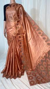 Copper color pure tussar silk cutwork sarees