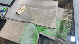 Silver and green pure tussar tissue silk self woven sarees