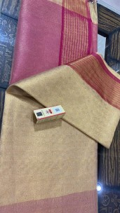 Light gold and pink pure tussar tissue silk self woven sarees