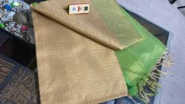 Light gold and green pure tussar tissue silk self woven sarees